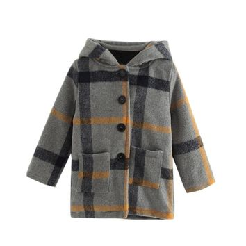 Kids Baby Girls Winter Clothes Woollen Coat Hooded Plaid Jacket