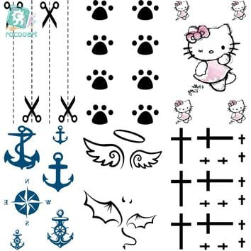 Rocooart HC26-50 Multi Colors Harajuku Flash Tattoo Fake Tattoo Women Hello Kitty Angel Wings Temporary Tattoo Sticker Taty
