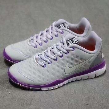 """NIKE"" net surface breathable sneaker soft-soled running casual shoes Grey purple"