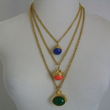 JBK JACKIE Jacqueline Bouvier Kennedy Stunning Multi-Chain Ornate Gold Tone & 3 Colored Blue Coral Green Swivel Fobs Dangle Pendant/Necklace