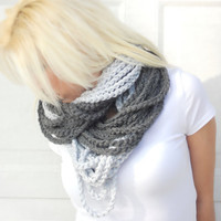 Chunky two tone crocheted loop infinity scarf, cowl, chain necklace