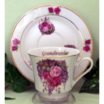 Grandmother Personalized Porcelain Tea Cup (teacup) and Saucer