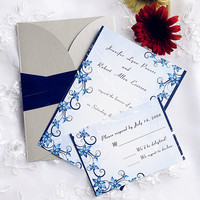Layered blue damask wedding invites – gray pocket and blue ribbon wedding invitations cards kit – custom and personalized cards EWPI096