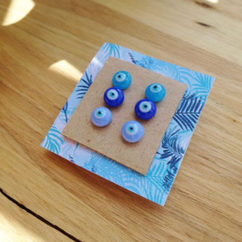 Glass Evil Eye Stud Earrings Set - Set of 3 Earrings - Evil Eye Earrings