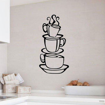 Coffee Cups Wall Sticker Decoration