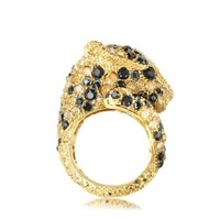 Roberto Cavalli Designer Rings Goldtone with Crystals Panther Ring