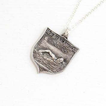 Vintage Sterling Silver Swimming Award Pendant Necklace - 1950s Mid Century New York American Swimming American Medal Athletic Jewelry