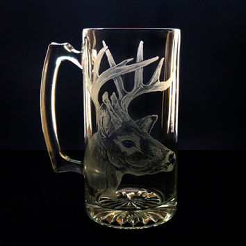 Beer Mug Whitetail deer glass  , barware glassware mancave groomsmen gift personalized engraved glass