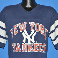80s New York Yankees Striped Jersey t-shirt Large