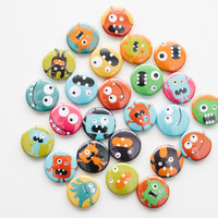Pin Back Buttons - Little Monsters (set of 20)