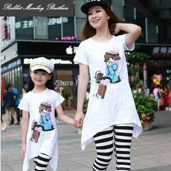Family clothing sets 2017 summer Cartoon Casual Fashion T-Shirt  pants 2 PCS set Mother and daughter Girls clothing set for girl