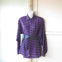 Stunning Purple/Black Stripe Button-Up Tunic-Length Top; Women's Medium Silk '80s Purple Top w/ Shoulder Pads; U.S. Shipping Included