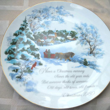 Horse Drawn Sleigh Snow Scene - American Greetings Commemorative Edition - Genuine Porcelain Christmas Plate 1980 |- Christmas Morning