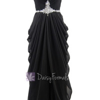 Delicate Floor Length Black Chiffon Dress Beaded Sweetheart Beach Wedding Dress(PR72168)