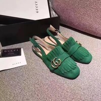 GUCCI Women Trending Fashion Tassels Casual Shoes Flat Sandal Slipper Heels Green