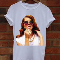 Lana Del Rey White Crew Neck T-Shirt and Tank Top. Small to X-Large.