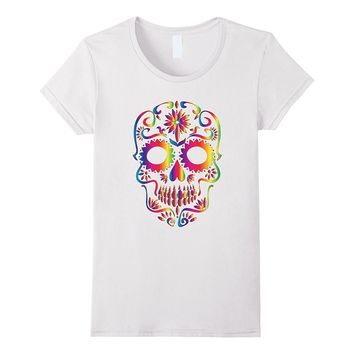 Colorful Skull T-Shirt for Mexican Day Of The Dead Shirt