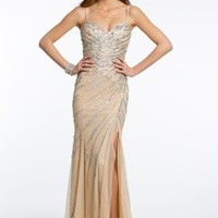 Sequin Beaded Dress with Side Slit