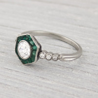 .50 Carat Vintage Diamond and Emerald Engagement Ring | Erstwhile Jewelry Co.