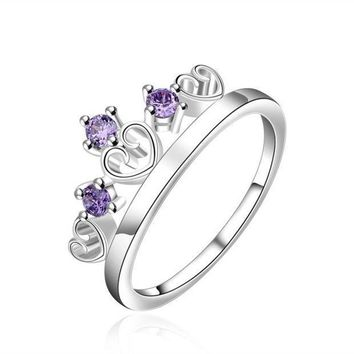 925 Sterling Silver Plated Fashion Jewelry Crystal Crown Couple Ring Size7 8