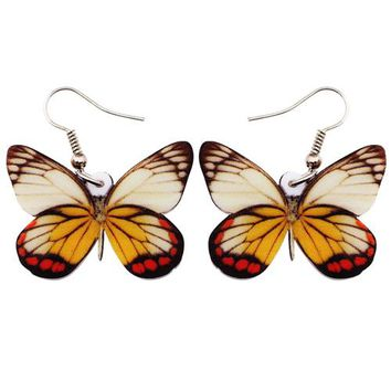 Acrylic Pattern Drop Dangle Big Long Pieridae Butterfly Earrings For Women New Fashion Accessories Insect Jewelry