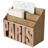 PARIS Wood & Copper Mail Sorter Desktop Organizer (Wood)