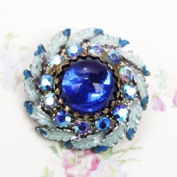 Blue Brooch, Rhinestone Brooch, Feathers, Enamel, Domed Brooch, Something Blue, Bridal Pin, Wedding Jewellery, Metal Pin, Circular - 1950's