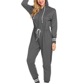 Ekouaer Thickened Casual Soft Pajamas Loungewear Women Sleepwear Jumpsuit with Pockets