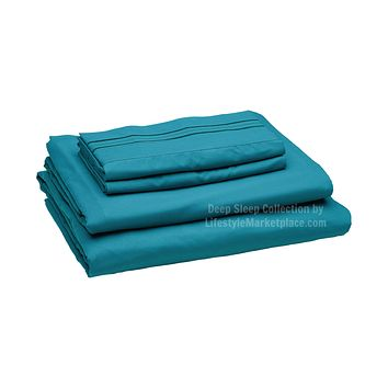 Twin XL / Dorm / Hospital Bed Sheets - Teal - Deep Sleep 1800 Thread Count Sheet Set - Breathable, Moisture Wicking, Ultra Soft, Wrinkle Free