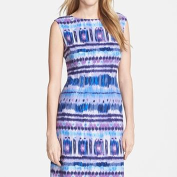 Women's Tahari Print Linen Blend Sheath Dress