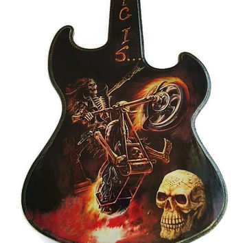 Guitar Wall Decor, Guitar Wall Wooden,Skull Bones, Motorcycle Wall Hanging Art, Home Decor Guitar, Music Hard Rock Heavy metal Rock'n'roll