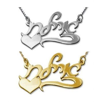 Hebrew Script Silver Side Heart Name Necklace