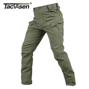TACVASEN New Shark Skin Softshell Pants Military Tactical Pants Men Hunt Cargo Pants Male Waterproof Combat Trousers TD-JLHS-004