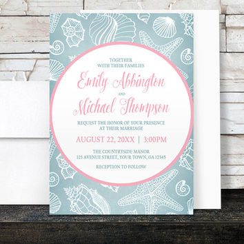 Beach Wedding Invitations - Blue Seashell with Pink - Printed Invitations