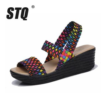 STQ 2017 Summer women sandals shoes women woven flat wedge platform sandals flip flops