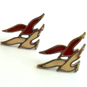 Vintage Red White Enamel Bird Earrings Pierced Post Silver Tone Seagull Gull Dove Modern 1980s Style