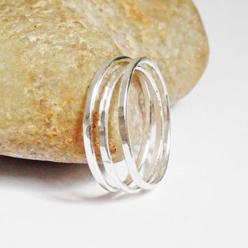 Set of Three Thin Hammered Sterling Silver Stacking Rings