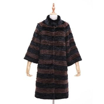 Winter Women Mink Fur Coat Real Genuine Fur Coat Long Womens Rex Rabbit Fur Collar Warm Female Stripped Knitted Jacket Mink Coat