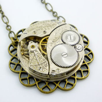 SteamPunk Neo-Victorian Simple Setting Necklace with Strong Vintage Elgin Watch Movement by Victorian Folly