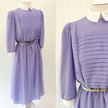 Felicity dress // 1970s ultra sheer lavender chiffon pleated white collar dolly midi // pouf sleeves draped // size M