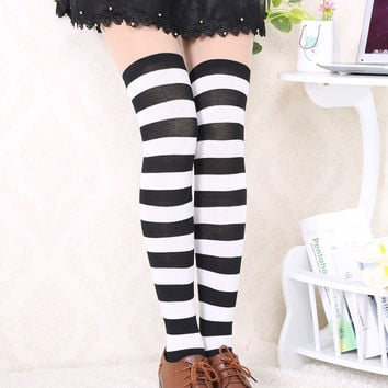 Women Girl Striped Cotton Thigh High Stocking Over the Knee Socks Fashion Stockings
