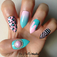 Turquoise x Candy x Mix 'n' Match x Drippy False Nail Set