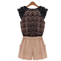 Nude and Black Lace Chiffon Romper
