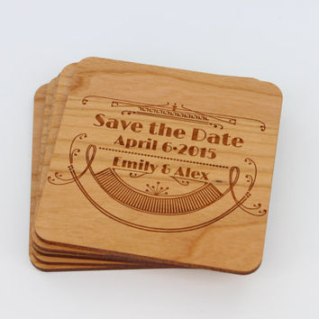 Save the Date Magnets - Fancy Custom Engraved Wood Magnets - Coasters - Simple & Classy - Wedding Reminder - Wedding Gift Ideas by Froolu