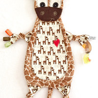 Baby Lovey Tag Blanket Giraffe Binkie Lovey Toy Friend