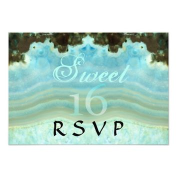 Trendy Girly Aqua Blue Crystal Sweet 16 Party RSVP 3.5x5 Paper Invitation Card