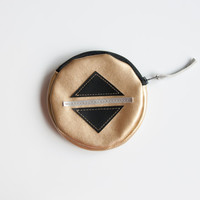 Circle coin purse - gold minimalist round pouch - round purse - metallic purse - round bag