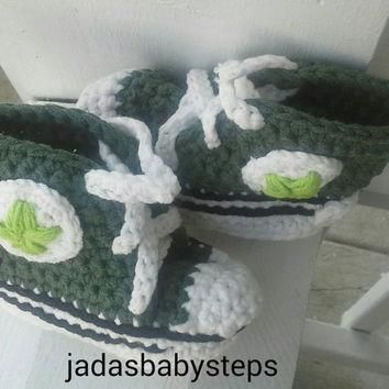 St Patricks Day Themed Crochet Converse Infant/Baby Booties