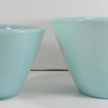 Fire King Delphite Blue Splash Proof Mixing Nesting Bowls Set of 2 5 inch and 5 3/4 inch