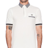 Fred Perry Gingham Trim Tipped Polo in White